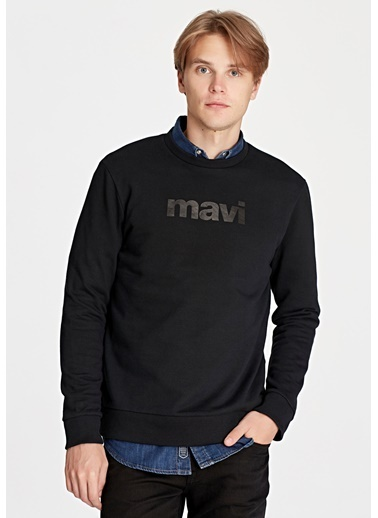 Mavi Baskılı Sweatshirt Siyah
